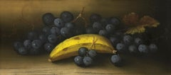 Grapes and Banana Still Life - English School - 19th Century - Pastel Painting