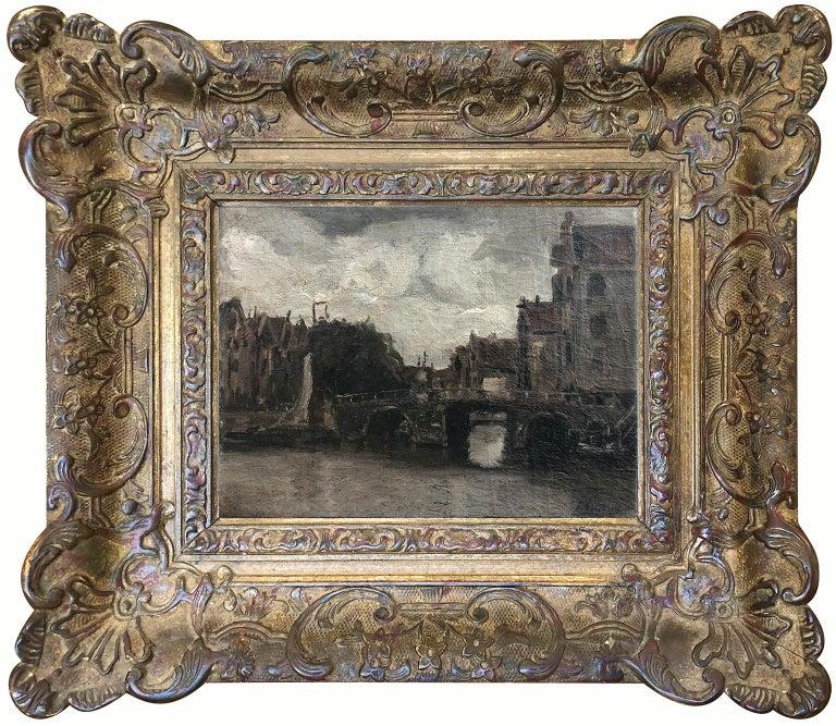Attributed Jacob Hendricks Maris (Dutch 1837-1899) Canal Scene - Signed J Maris - Painting by Jacob Hendricus Maris