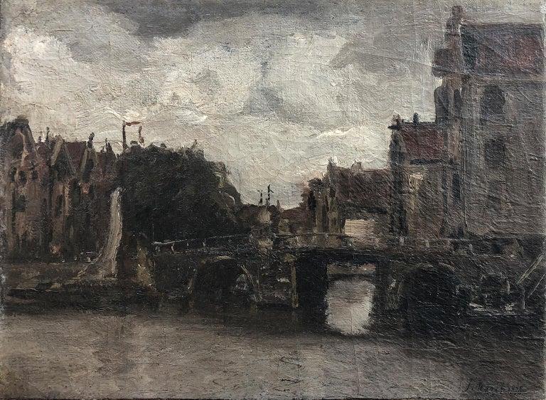 Jacob Hendricus Maris Landscape Painting - Attributed Jacob Hendricks Maris (Dutch 1837-1899) Canal Scene - Signed J Maris