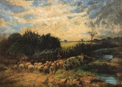 "David Cox ""The Younger"" (1809-1885) Moving the flock - Royal Academy"