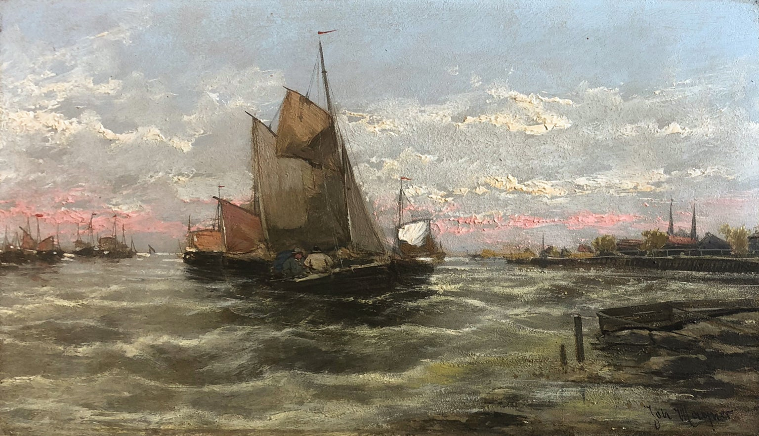 Fishing Boats - Georg Fischhof (Austrian 1859-1915) Signed Jan Wagner, Pseudonym