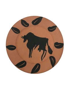 Pablo Picasso Madoura Ceramic Plate - Taureau, marli aux feuilles, Ramié 394