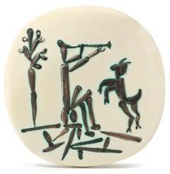 Pablo Picasso Madoura Ceramic Plaque - Joueur de flûte et chèvre, Ramié 382
