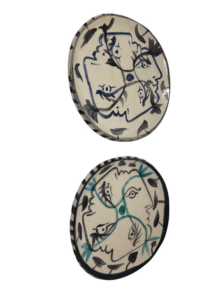 Pablo Picasso Madoura Ceramic Plate - Quatre profils enlacés, Ramié 86 For Sale 1