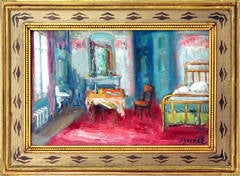 Bedroom Interior Scene with Wine Bottle