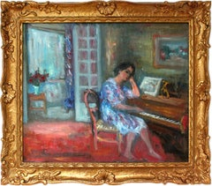 Interior Scene of Woman Playing the Piano