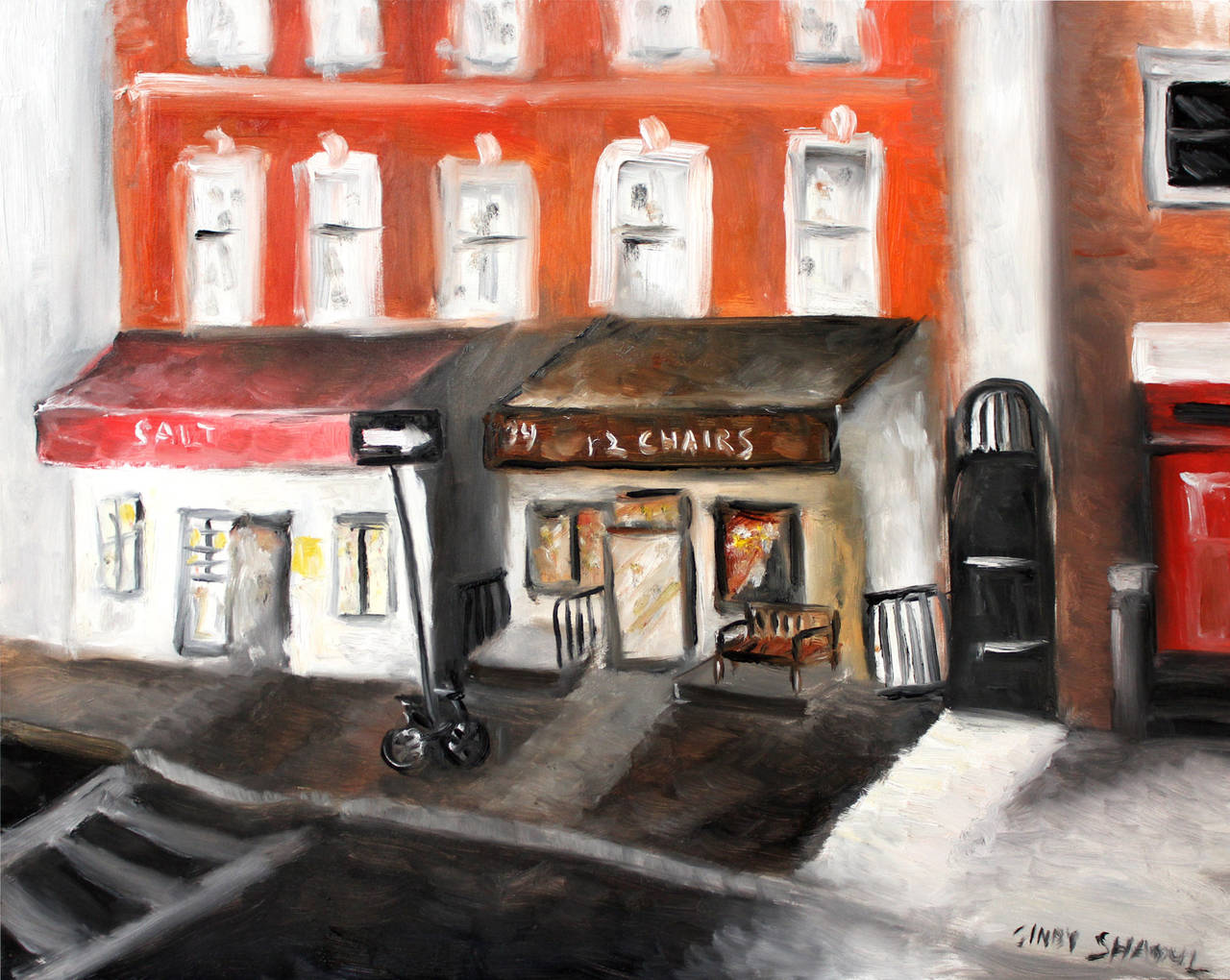 Cindy Shaoul Landscape Painting - 12 Chairs, West Village