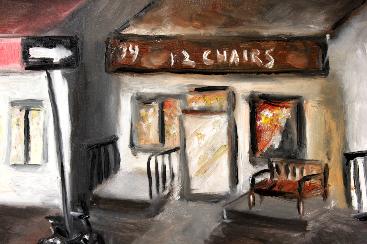 12 Chairs, West Village - Painting by Cindy Shaoul