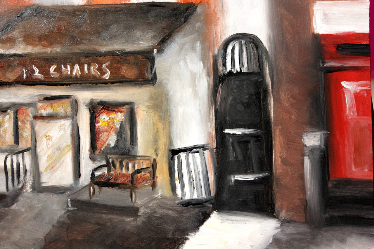 12 Chairs, West Village - Impressionist Painting by Cindy Shaoul