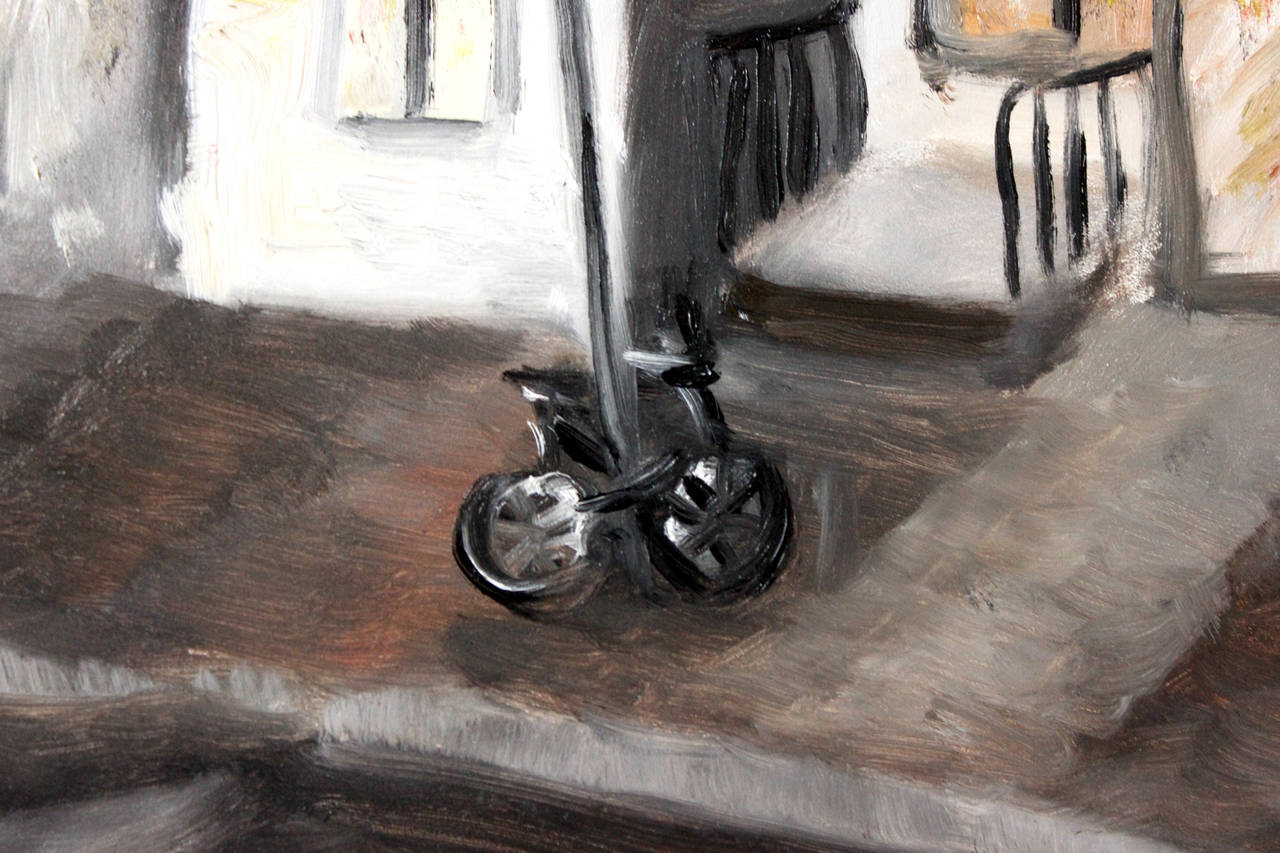 12 Chairs, West Village - Brown Landscape Painting by Cindy Shaoul