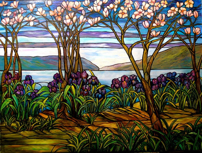 Kristina Nemethy Abstract Painting - Garden Landscape with Water Views