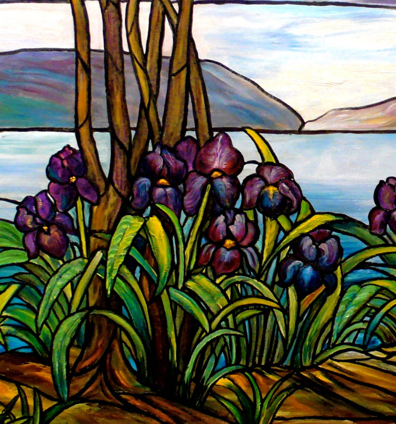 Garden Landscape with Water Views - Contemporary Painting by Kristina Nemethy