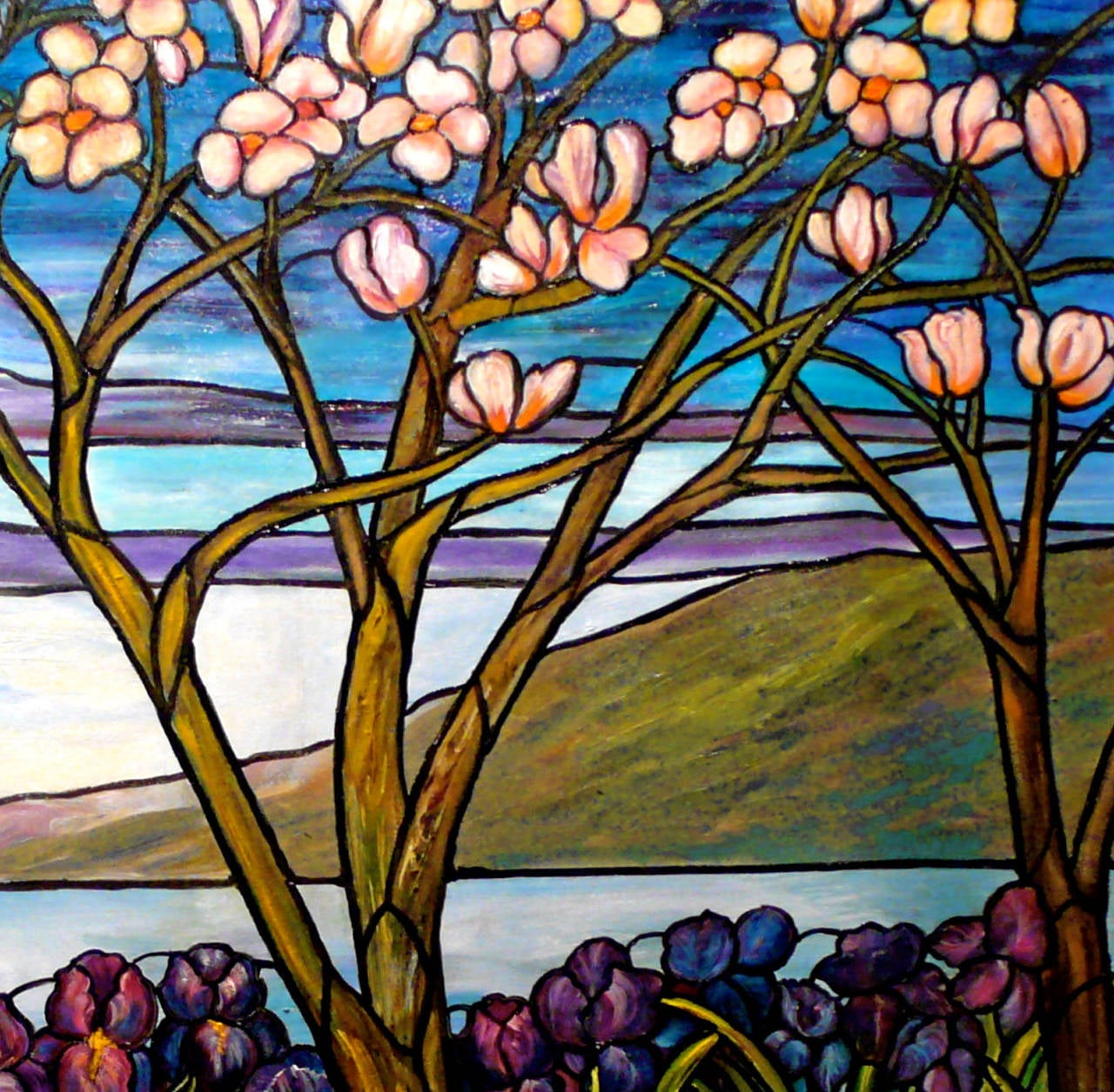 Garden Landscape with Water Views - Painting by Kristina Nemethy