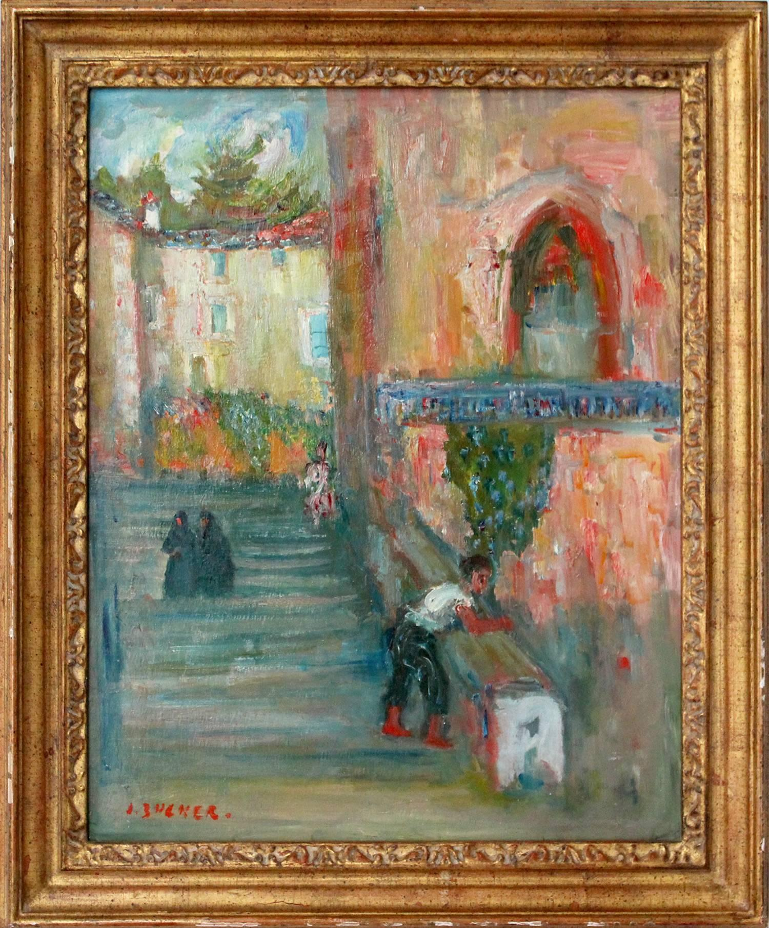 """""""On the Stairwell"""" Impressionist Town Scene Oil Painting on Canvas"""