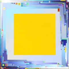 """""""City Landscape Yellow Deep"""" Joseph Albers Style Mixed Media Painting on Canvas"""