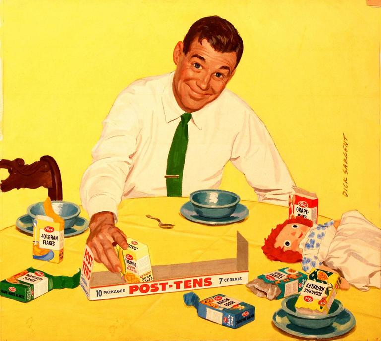 "1950s Original Illustration of Man at Breakfast Table ""Post"" Advertisement"