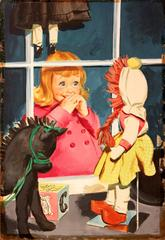 1950s American Original Illustration of Little Girl Window Shopping in Toy Store