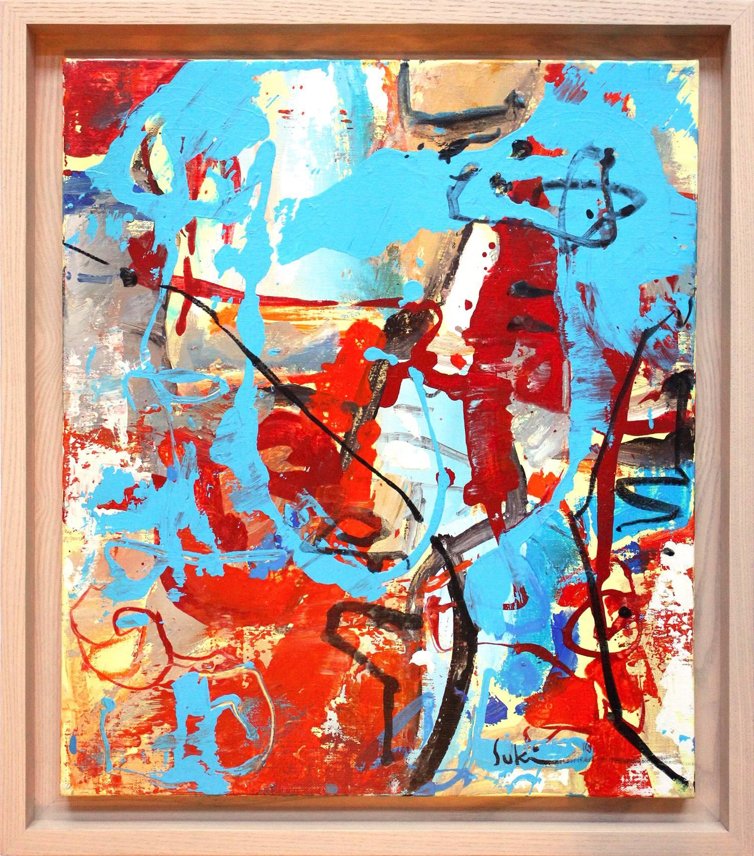 """""""Nature and Human Relationship – Red and Blue Mountain – 10F"""" Abstract Painting"""