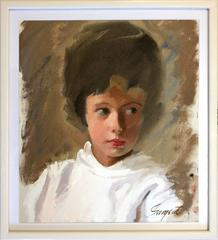 American 20th Century Oil Painting Portrait of Woman from 1950's