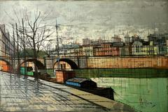 Seine River by Velica 20th Century French Oil Painting