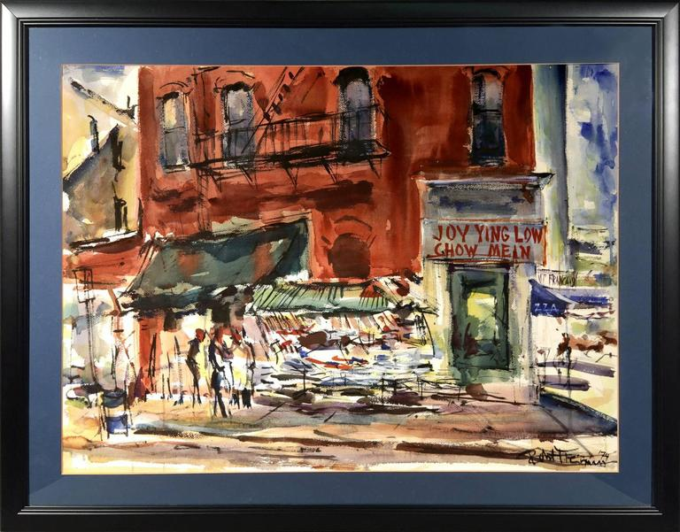 """Robert Freiman Landscape Painting - New York City Street Scene of China Town """"Joy Ting Low Chow Mein"""""""