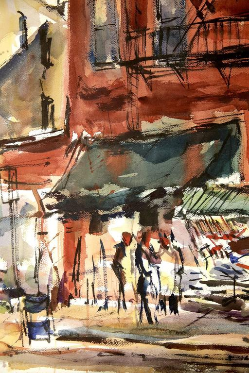 An exciting watercolor of a New York City street scene done in 1974. The fast brushwork is noted with much attention directed to abstracting the depiction. Freiman's execution of this piece is consistent with much of his watercolors. A wonderful