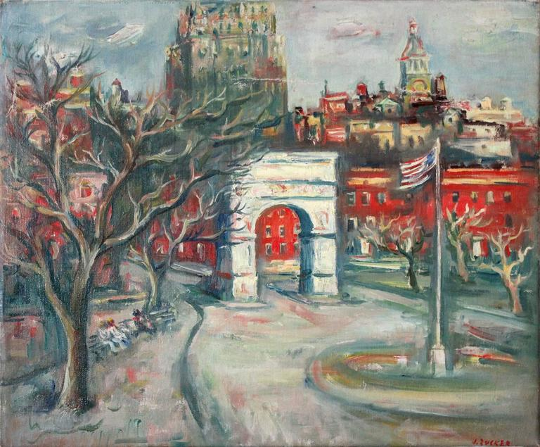 20th Century Impressionistic Oil Painting Snow in Washington Square Park