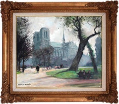 """The Path by Notre Dame"" Impressionist Oil on Canvas Painting by French Artist"
