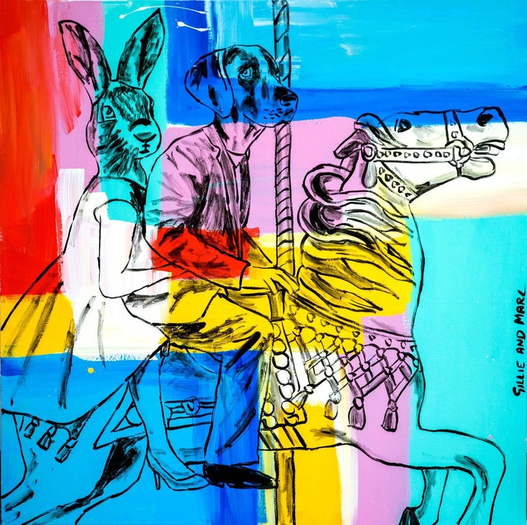 Gillie and Marc Schattner Animal Painting - Pink and Blue Go Round and Round