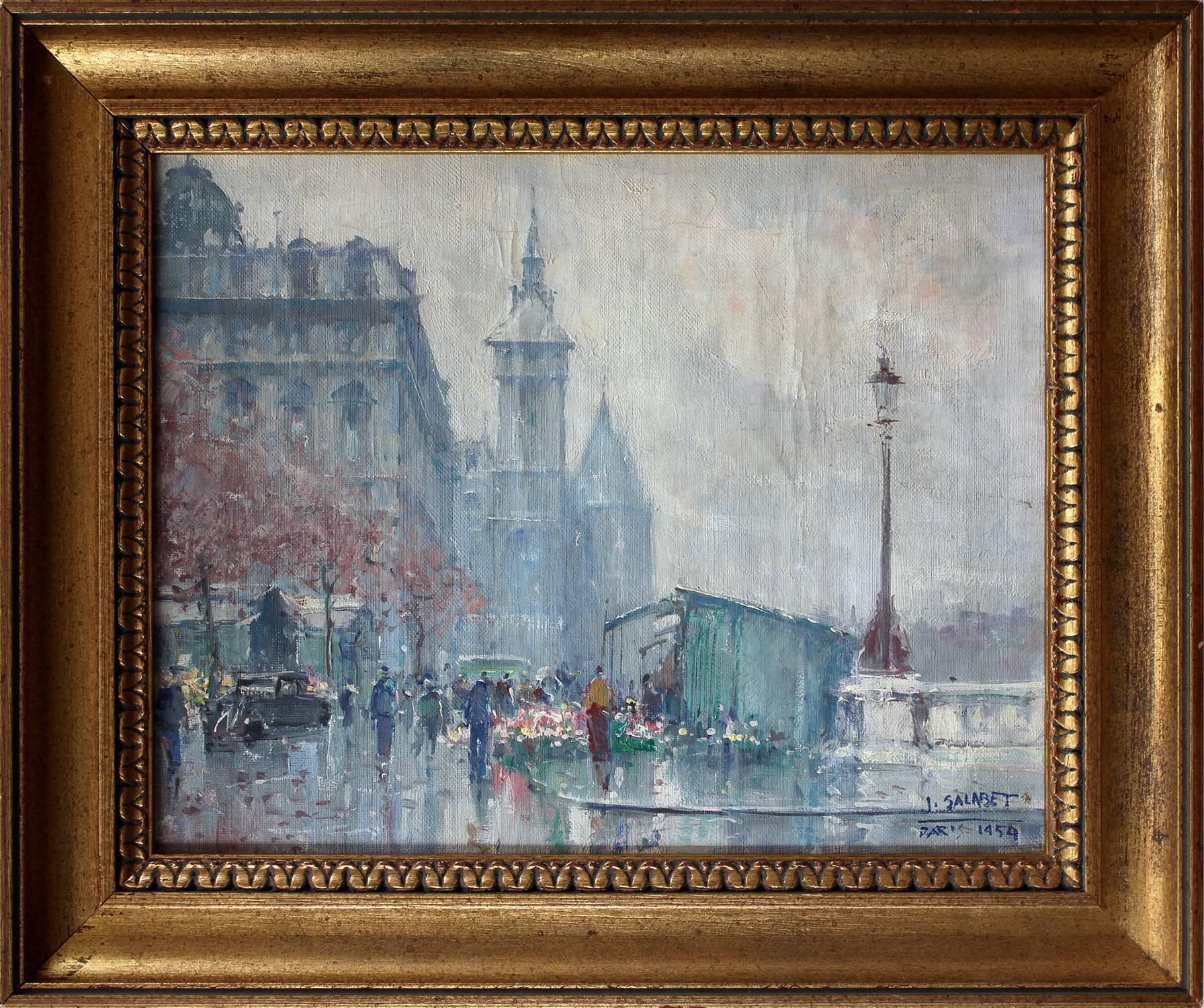 """Near the Hotel de Ville in Spring"" Post-Impressionist Parisian Street Scene"