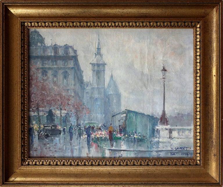 "Jean Salabet Landscape Painting - ""Near the Hotel de Ville in Spring"" Post-Impressionist Parisian Street Scene"