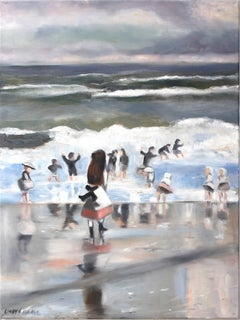 """A Summer Day at the Beach"" Impressionistic Beach Scene Oil Painting on Canvas"