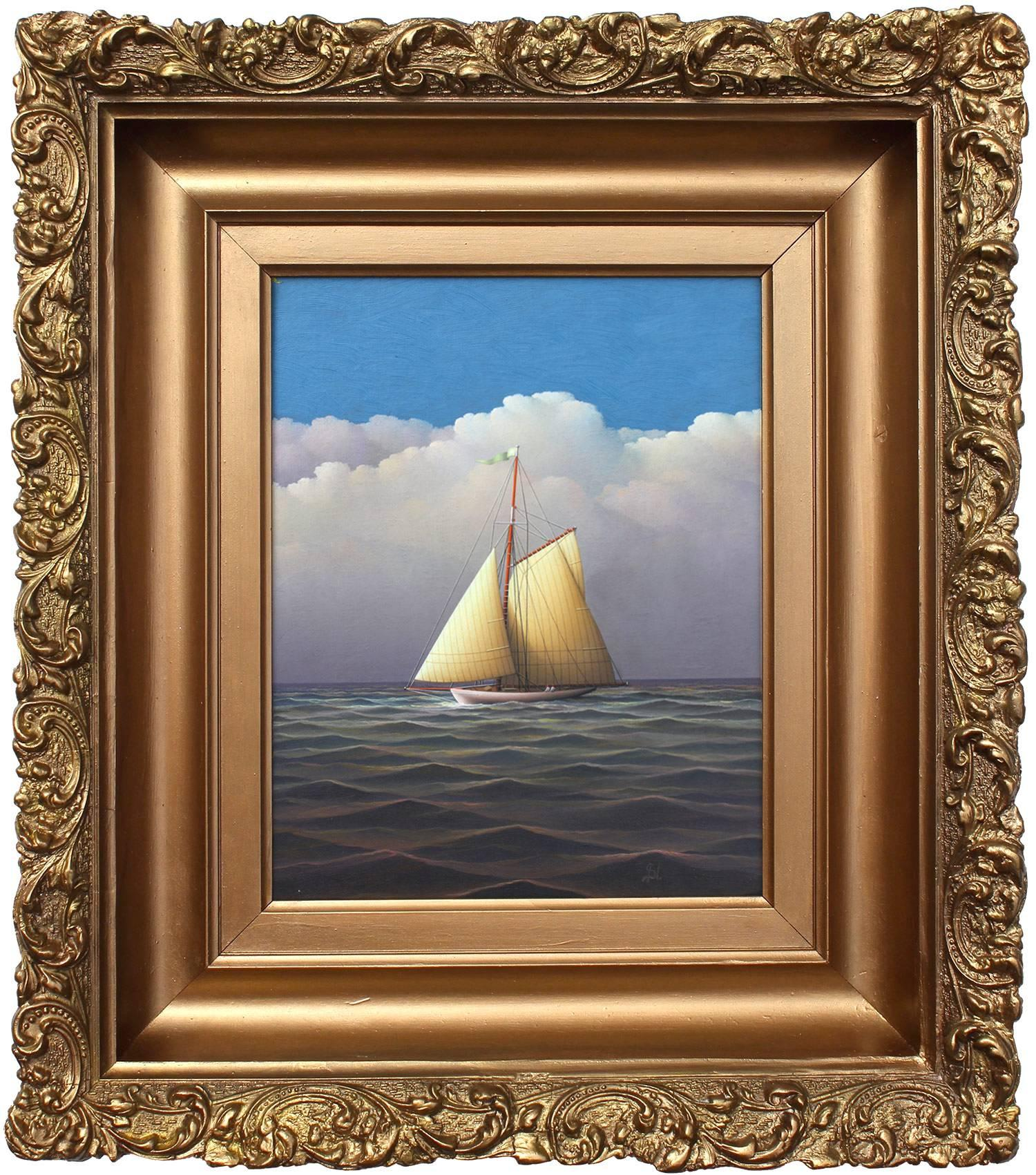 """""""Sailing on the Open Seas"""" Realist Oil Painting on Board of Sailboat in Open Sea"""