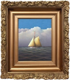 """Sailing on the Open Seas"" Realist Oil Painting on Board of Sailboat in Open Sea"