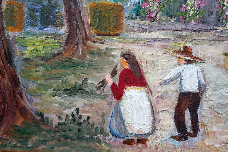 Mexican Village Scene - Impressionist Painting by Kristina Nemethy