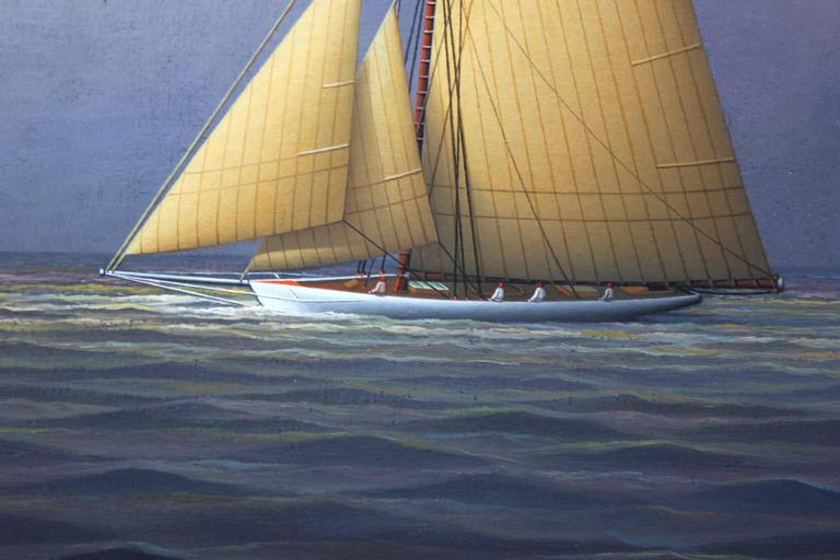 Sailing Across the Atlantic - Brown Landscape Painting by George Nemethy