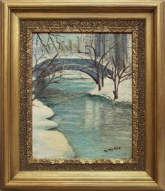 """Central Park in the Winter"" American Impressionist New York City Oil Painting"