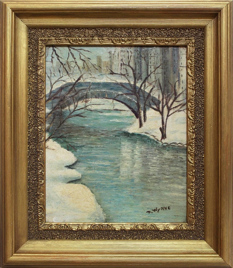 "Unknown Landscape Painting - ""Central Park in the Winter"" American Impressionist New York City Oil Painting"
