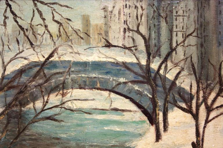A lovely scene of snow in Central Park depicting the iconic bridge and buildings of Manhattan in the back ground. The colors are calm with a beautiful cobalt blue contrasted with thick use of titanium white. An iconic scene where many movies have