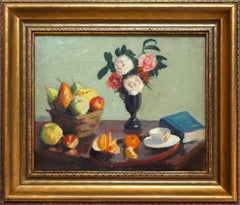 """""""Still Life with Flowers, Fruits and Tea"""" Colorful Oil on Canvas Interior Scene"""
