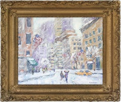 """Columbus Circle N.Y.C."" Impressionist Street Scene Oil Painting on Canvas Board"