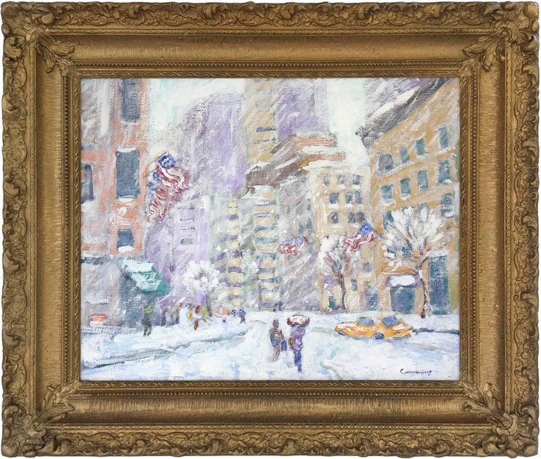 "John Crimmins Landscape Painting - ""Columbus Circle N.Y.C."" Impressionist Street Scene Oil Painting on Canvas Board"
