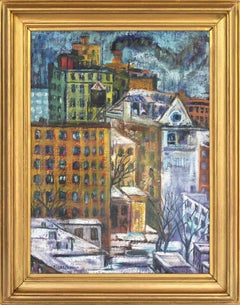 """New York Cityscape"" Abstract Impressionist New York City Winter Scene Painting"