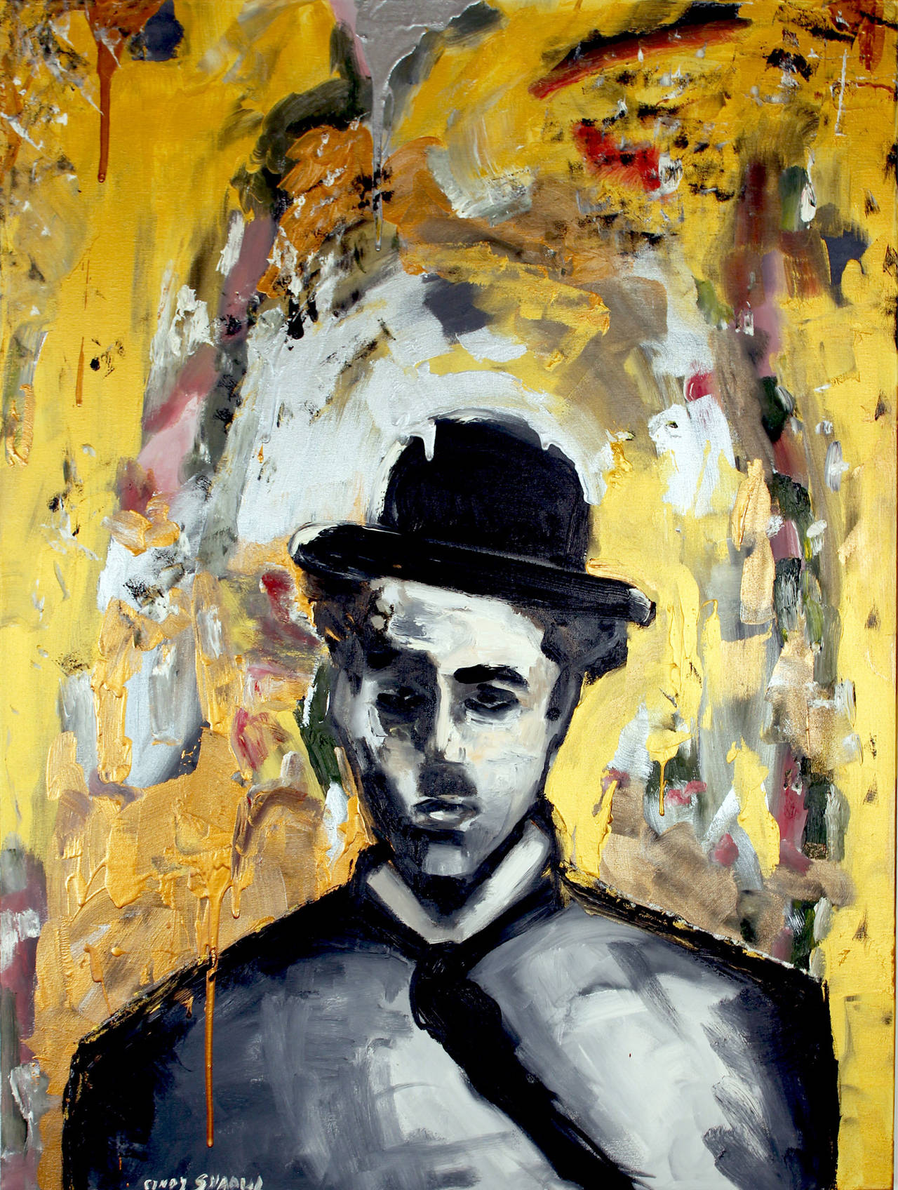 Cindy Shaoul Abstract Painting - Sad Chaplin