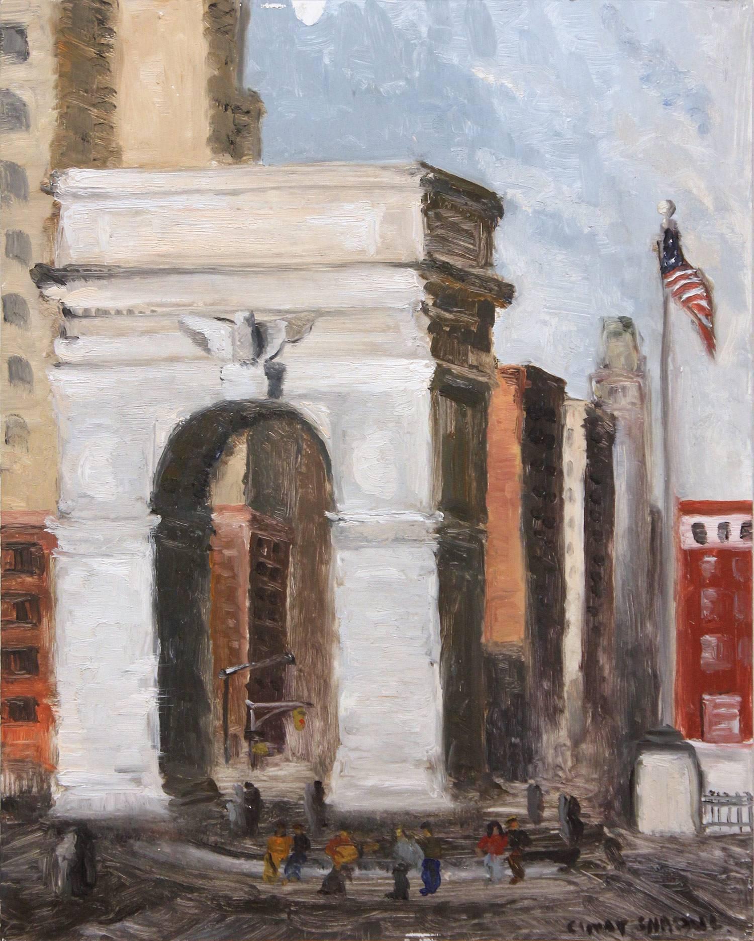 """Hanging out at Washington Square Park"" Impressionist New York City Scene"