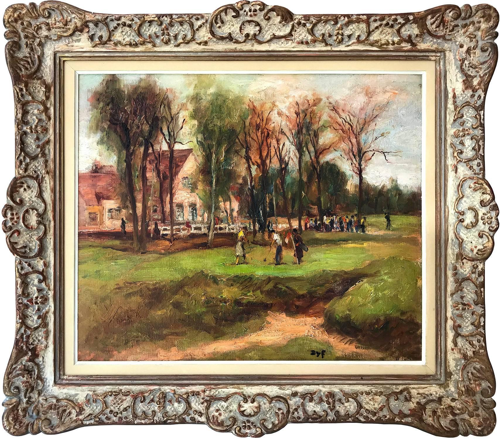 """""""The Golf"""" Oil on Canvas Impressionist Painting at Chiberta in Southern France"""