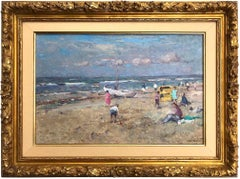 Beach Scene with Figures and Children Playing
