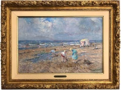Beach Scene with Figures and Beach Hut