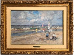 Beach Scene with Figures and Sailing Boats