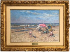 Beach Scene with Figures and Parasol